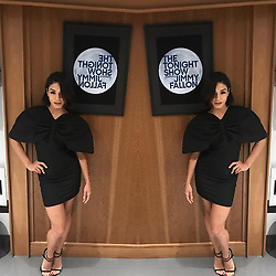 """Vanessa Hudgens releases a photo on Instagram with the following caption: """"Last night before it got weird on the tonight show lol wearing @jacquemus #thetonightshow"""". Photo Credit: Instagram *** No USA Distribution *** For Editorial Use Only *** Not to be Published in Books or Photo Books ***  Please note: Fees charged by the agency are for the agency's services only, and do not, nor are they intended to, convey to the user any ownership of Copyright or License in the material. The agency does not claim any ownership including but not limited to Copyright or License in the attached material. By publishing this material you expressly agree to indemnify and to hold the agency and its directors, shareholders and employees harmless from any loss, claims, damages, demands, expenses (including legal fees), or any causes of action or allegation against the agency arising out of or connected in any way with publication of the material."""