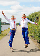 Reading, GREAT BRITIAN, GBR W2X left Elise LAVERICk and Anna BEBINGTON, British Olympic Association, BOA, 2008 Beijing Olympic Rowing Team Announcement for 2008 Beijing Olympic Games, CHINA. .Redgrave and  Pinsent Rowing Lake, Caversham Training Centre, on Thursday, 26/06/2008. [Mandatory Credit:  Peter SPURRIER / Intersport Images] Rowing course: GB Rowing Training Complex, Redgrave Pinsent Lake, Caversham, Reading