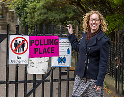 Scottish Greens Co-convener casts vote, Edinburgh, 06 May 2021 <br /> <br /> Pictured: Scottish Greens Co-convener, Lorna Slater, casts her vote with husband Gordon Graig in the 2021 Scottish Parliamentary Election in Edinburgh<br /> <br /> (c) Richard Dyson | EdinburghElitemedia.co.uk 2021