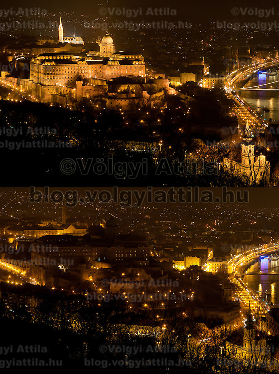 """The combination photo taken on March 26, 2011 shows the Castle of Buda before (Top) and during the """"Earth Hour"""" in Budapest, Hungary. The """"Earth Hour"""", initiated by the World Wild Fund for Nature (WWF) in 2007, calls on families and buildings to turn off the lights for one hour on the last Saturday night of March. ATTILA VOLGYI"""