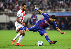 ATHENS, Nov. 1, 2017  Luis Suarez (R) of Barcelona competes during the UEFA Champions League group D match between Olympiacos and Barcelona in Athens, Greece, on Oct. 31, 2017. The match ended with a 0-0 tie. (Credit Image: © Lefteris Partsalis/Xinhua via ZUMA Wire)