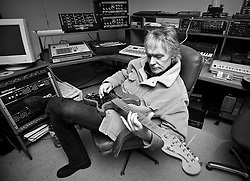 """ROTTERDAM, THE NETHERLANDS - FEB-16-2008 - Alan Lee Shaw, guitar player for the former punk band """"The Damned"""", at Forma Music recording studio in Rotterdam, the Netherlands. (Photo © Jock Fistick)"""