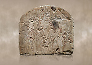 Ancient Egyptian stele depicting Sethy I adoring Amenhotep I and Nefertari, limestone, New Kingdom, 19th Dynasty, (1279-1213 BC), Deir el-Medina,  Egyptian Museum, Turin.  Schiaparelli Cat 6189. .<br /> <br /> If you prefer to buy from our ALAMY PHOTO LIBRARY  Collection visit : https://www.alamy.com/portfolio/paul-williams-funkystock/ancient-egyptian-art-artefacts.html  . Type -   Turin   - into the LOWER SEARCH WITHIN GALLERY box. Refine search by adding background colour, subject etc<br /> <br /> Visit our ANCIENT WORLD PHOTO COLLECTIONS for more photos to download or buy as wall art prints https://funkystock.photoshelter.com/gallery-collection/Ancient-World-Art-Antiquities-Historic-Sites-Pictures-Images-of/C00006u26yqSkDOM