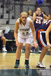 10 January 2009: Kylie Castans takes her place along the lane for a free throw. The Lady Titans of Illinois Wesleyan University downed the and Lady Thunder of Wheaton College by a score of 101 - 57 in the Shirk Center on the Illinois Wesleyan Campus in Bloomington Illinois.