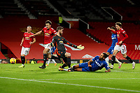 Football - 2020 / 2021 Premier League - Manchester United vs Everton - Old Trafford<br /> <br /> Dominic Calvert-Lewin of Everton scores his sides equalising goal to make the score 3-3<br /> <br /> COLORSPORT/PAUL GREENWOOD