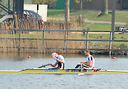 Hazewinkel, BELGIUM,  Men's Pair,  GBR M2-, stroke [left] Andy TRIGGS HODGE and Peter REED winning the A final,  at the Monday Morning Final.  British Rowing Senior Trails, Bloso Rowing Centre. Monday  12/04/2010.  [Mandatory Credit. Peter Spurrier/Intersport Images]