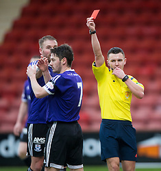 Ref Nick Walsh sends off Ayr United's Brian Gilmour and Dunfermline get a penalty. <br /> half time : Dunfermline 1 v 2 Ayr United, Scottish League One played at East End Park, 13/2/2016.