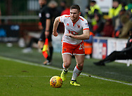 Blackpool's Oliver Turton during the EFL Sky Bet League 1 match between Fleetwood Town and Blackpool at the Highbury Stadium, Fleetwood, England on 25 November 2017. Photo by Paul Thompson.