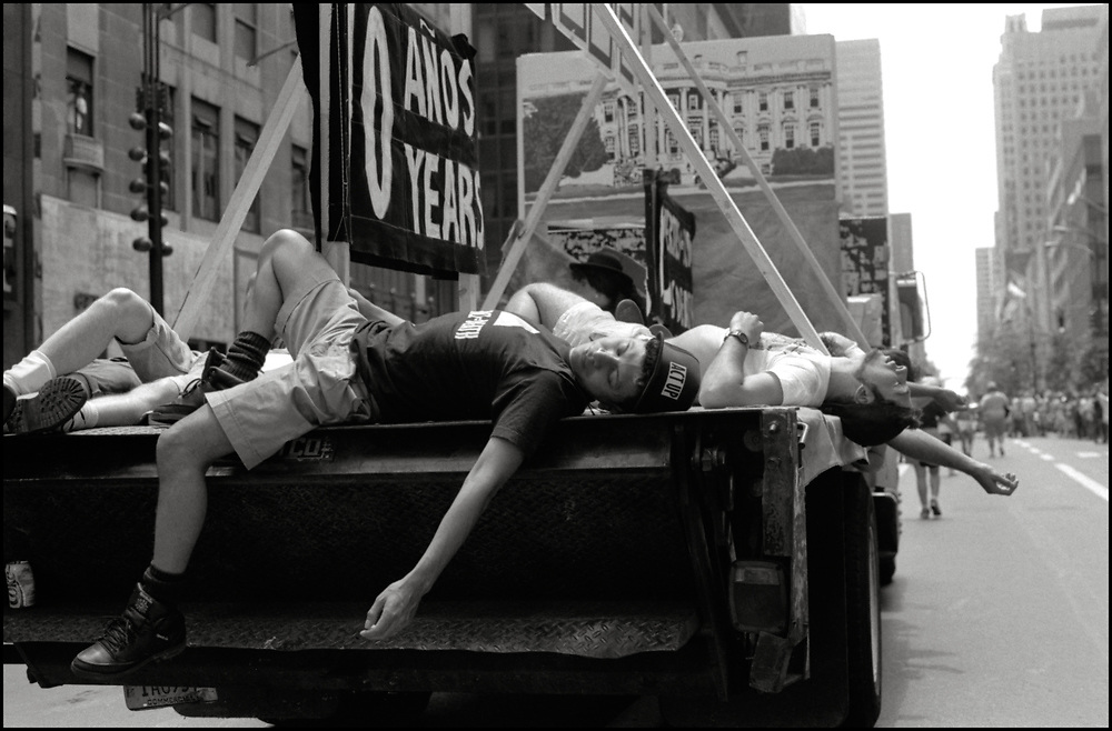 ACT UP's float in the Gay Pride Parade in New York City in June, 1990.