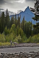 Fly-fisherman, Beartooth Peak, Clarks Fork River, Beartooth Mountains, Cooke City Montana