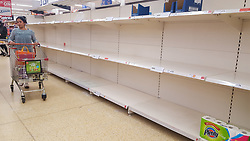 © Licensed to London News Pictures. 12/03/2020. London, UK. Sainsbury's store in London runs out of toilet rolls amid an increased number of cases of Coronavirus (COVID-19) in the UK. 590 cases have been tested positive and ten patients have died from the virus in the UK. Photo credit: Dinendra Haria/LNP