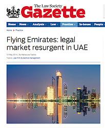 Law Society Gazette; Evening skyline of Abu Dhabi