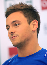 © Licensed to London News Pictures. London, UK. 27/04/2014. London, UK.  Britain's Tom Daley looks concerned after finishing fifth at the FINA Diving World Series final at the Aquatics Centre, Queen Elizabeth Olympic Park. Photo credit: LNP
