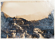 Japanese landscape with bridge and car ca 1930s
