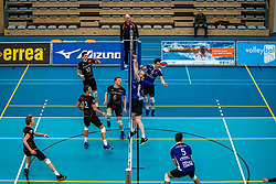 Luuk Hoge Bavel of Talent Team, Luuk Hofhuis of Talent Team, Daan Haanappel of Vocasa in action during the first league match in the corona lockdown between Talentteam Papendal vs. Vocasa on January 13, 2021 in Ede.