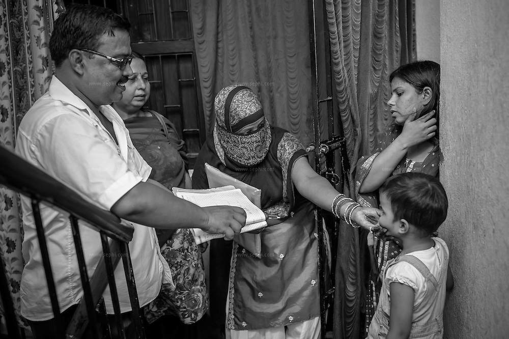 Prior to the visit by immunization teams on the vaccination day, a survey team goes door-to-door to track and register all children, including guests, under five years of age.