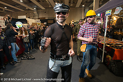 """Village People"" dress-ups having a blast singing and dancing with the crowds during Motor Bike Expo. Verona, Italy. January 23, 2016.  Photography ©2016 Michael Lichter."