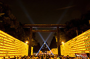Yellow lanterns are set up, each containing the name of a fallen military serviceman during the Mitama matsuri or festival of remembrance at the controversial Yasukuni Shrine in Chiyoda, Tokyo, Japan. Tuesday, July 13th 2010