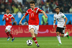 June 19, 2018 - Saint Petersburg, Russia - Aleksandr Golovin of the Russia national football team vie for the ball during the 2018 FIFA World Cup match, first stage - Group A between Russia and Egypt at Saint Petersburg Stadium on June 19, 2018 in St. Petersburg, Russia. (Credit Image: © Igor Russak/NurPhoto via ZUMA Press)