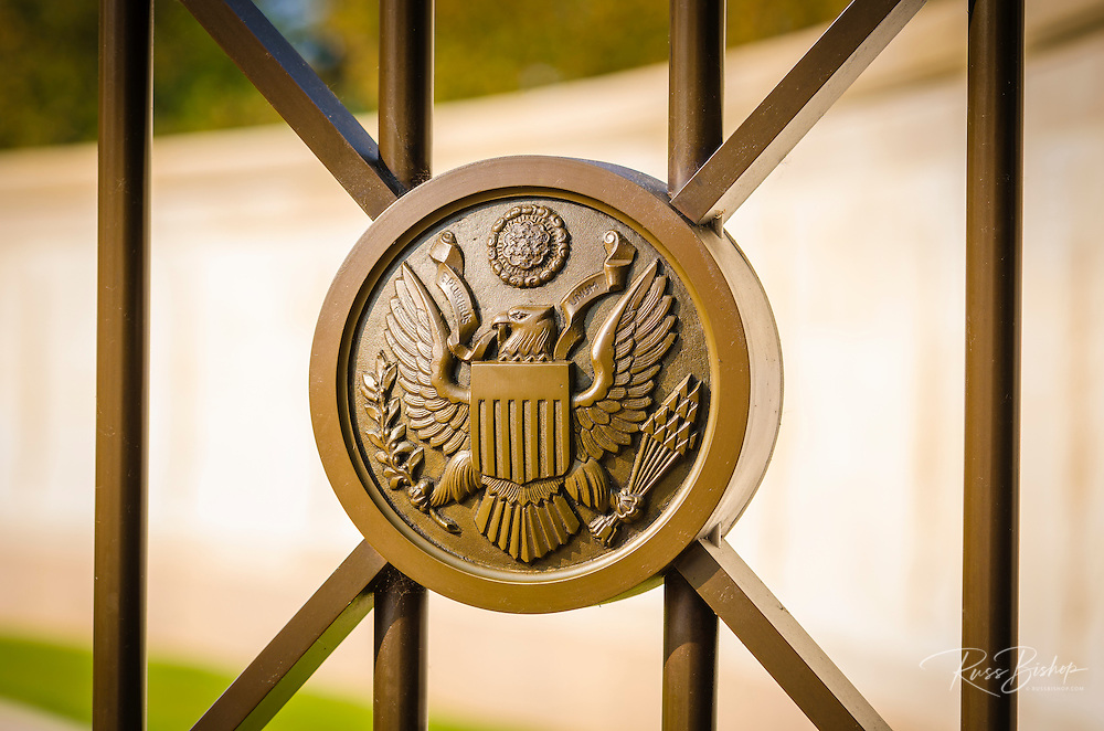 Emblem at the American Cemetery, Omaha Beach, Colleville-sur-Mer, Normandy, France