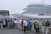 Celebrity Eclipse collecting over 2000 stranded holiday makers from Bilbao, Spain..Excited holiday makers waiting to board the ship for their trip back to the UK. The brand new cruise ship will dock in Southampton tomorrow..