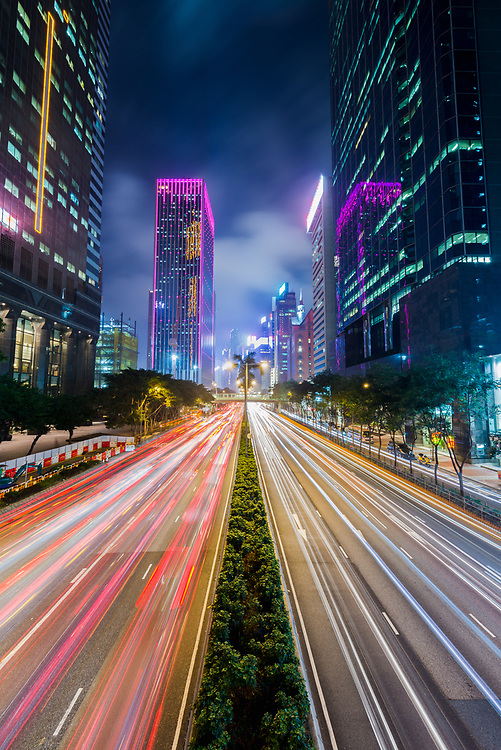 Traffic light trails at night in Central, Hong Kong