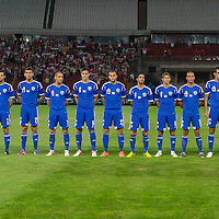 Team Israel lines up during a friendly football match Hungary playing against Israel in Budapest, Hungary on August 15, 2012. ATTILA VOLGYI