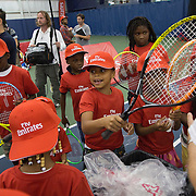 August 19, 2014, New Haven, CT:<br /> Local kids participate in the Emirates Airline tennis clinic on day five of the 2014 Connecticut Open at the Yale University Tennis Center in New Haven, Connecticut Tuesday, August 19, 2014.<br /> (Photo by Billie Weiss/Connecticut Open)