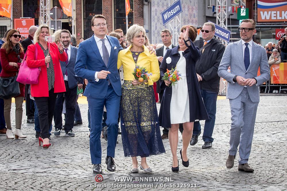 NLD/Groningen/20180427 - Koningsdag Groningen 2018, Prins Bernhard,  Prinses Annette, Prins Constantijn en Prinses Laurentien