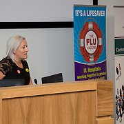 04.10. 2017.                   <br /> HEALTHCARE staff across the MidWest are taking part in a major vaccination programme to protect patients from flu this winter.<br />  <br /> UL Hospitals Group and HSE Mid West Community Healthcare this Wednesday joined forces to launch a flu campaign aimed at vaccinating thousands of healthcare workers in community, primary, mental health and acute hospital settings across Limerick, Clare and Tipperary. A national target of 40% uptake rate has been set by the HSE.<br /> <br /> Pictured at the launch was University Hospitals Group CEO Colette Cowan.<br />  <br /> The HSE will next Monday, October 9th, launch its national flu campaign, with at-risk groups – including the over-65s; people with long-term chronic illnesses; pregnant women and residents of nursing homes and other longstay facilities – encouraged to get the vaccine from their family doctor or pharmacist. Picture: Alan Place