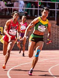 Penn Relays, USA vs the World, womens 4 x 200 meter relay, Natasha Morrison, Jamaica vs. Porscha Lucas, USA, anchor leg