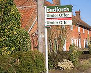 Under Offer property sign for Bedfords estate agent, Wantisden, Suffolk, England
