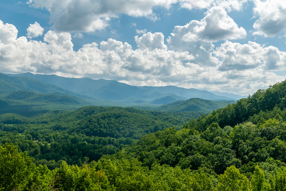 View from the Inadu Knob Overlook on the Foothills Parkway in Great Smoky Mountains National Park in Cosby, Tennessee on Tuesday, August 11, 2020. Copyright 2020 Jason Barnette