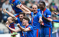 19/04/15 WILLIAM HILL SCOTTISH CUP SEMI-FINAL<br /> INVERNESS CT v CELTIC<br /> HAMPDEN - GLASGOW<br /> Inverness CT's David Raven (2nd from right) celebrates his goal with his team-mates