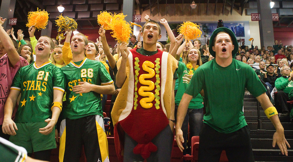 Kearney Catholic fans, from right, juniors Thomas Connely and Blake Holtmeier in hot dog costume, and seniors Alex Liess and Cody Brown cheer on the Stars during their Class D-2 state championship match against Columbus Scotus Saturday at the Heartland Events Center in Grand Island. (Independent/Matt Dixon)