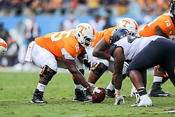 Sep 1, 2018; Charlotte, NC, USA; Tennessee Volunteers offensive lineman Brandon Kennedy (55) waits to snap the ball during the second quarter against the West Virginia Mountaineers at Bank of America Stadium. Mandatory Credit: Ben Queen-USA TODAY Sports