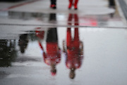 October 23-25, 2015: United States GP 2015: Ferrari team members walk into the circuit on Friday morning.