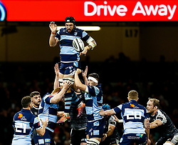 Josh Turnbull of Cardiff Blues claims the lineout<br /> <br /> Photographer Simon King/Replay Images<br /> <br /> Guinness PRO14 Round 21 - Cardiff Blues v Ospreys - Saturday 27th April 2019 - Principality Stadium - Cardiff<br /> <br /> World Copyright © Replay Images . All rights reserved. info@replayimages.co.uk - http://replayimages.co.uk