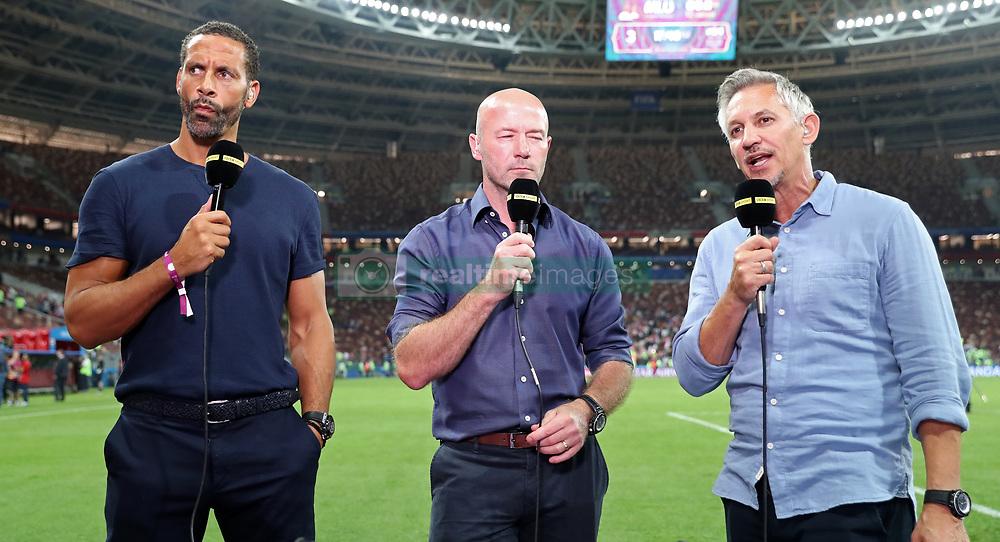 BBC Pundits Rio Ferdinand, Alan Shearer and presenter Gary Lineker after the FIFA World Cup, Semi Final match at the Luzhniki Stadium, Moscow.