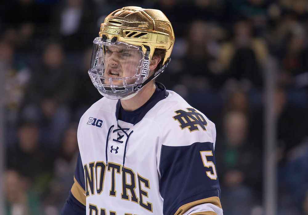 March 08, 2019:  Notre Dame defenseman Matt Hellickson (5) during NCAA Hockey game action between the Michigan State Spartans and the Notre Dame Fighting Irish at Compton Family Ice Arena in South Bend, Indiana.  Notre Dame defeated Michigan State 1-0.  John Mersits/CSM