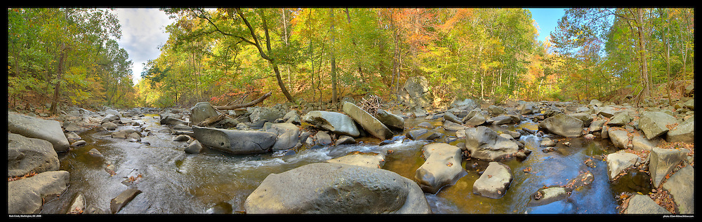 Panoramic photograph of Rock Creek Park in Washington, Dc with early fall foliage.  Print Size (in inches): 15x5; 24x7.5; 36x11; 48x15; 60x19; 72x22.5