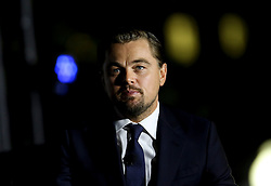 Leonardo DiCaprio participates participates at a panel discussion on climate change with US President Barack Obama (unseen) and Dr. Katharine Hayhoe (unseen), as part of the White House South by South Lawn event, in the South Lawn of the White House, Washington DC, October 3, 2016. (Pool/Aude Guerrucci)