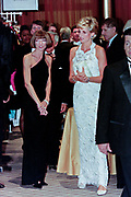 Diana, Princess of Wales walks with Vogue Magazine editor Anna Wintour, left, during a charity gala fundraising event for the Nina Hyde Center for Breast Cancer Research September 24, 1996 in Washington, DC.
