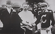 "The captains shake hand prior to the start of the 1913 Munster final at Dungarvan. On the left is Pat ""Wedger"" Meagher, captain of Tipperary, known at the time as the Toomevara Greyhounds because they were spearheaded by members of that famous club. Cork were captained by Barry Murphy (pictured on the right). Tipperary won this match but were defeated by Kilkenny in the All-Ireland final."
