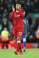 Joe Gomez of Liverpool applauds the fans after the game. Premier League match, Liverpool v Leicester City at the Anfield stadium in Liverpool, Merseyside on Saturday 30th December 2017.<br /> pic by Chris Stading, Andrew Orchard sports photography.