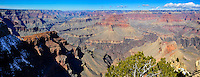 United States, Arizona, Grand Canyon. Hopi Point is the northernmost spot on this part of the south rim, where much of the western Grand Canyon comes into full perspective. Panorama view.