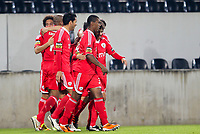 20120103: GUIMARAES, PORTUGAL - Portuguese League Cup, 3rd Stage, Round 1: VSC Guimaraes vs SL Benfica. <br /> In photo: Benfica players celebrate a goal.<br /> PHOTO: CITYFILES