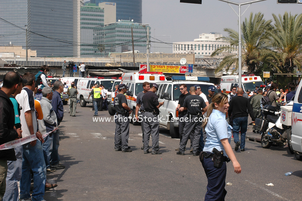 Tel Aviv, Israel after a suicide bomber exploded in the street on April 17th 2006 killing 9 mostly foreigners;