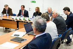 Drago Bahun, Enzo Smrekar, president of SZS, Petra Majdic and Jurij Zurej during meeting of Executive Committee of Ski Association of Slovenia (SZS) on March 10, 2014 in SZS, Ljubljana, Slovenia. Photo by Vid Ponikvar / Sportida
