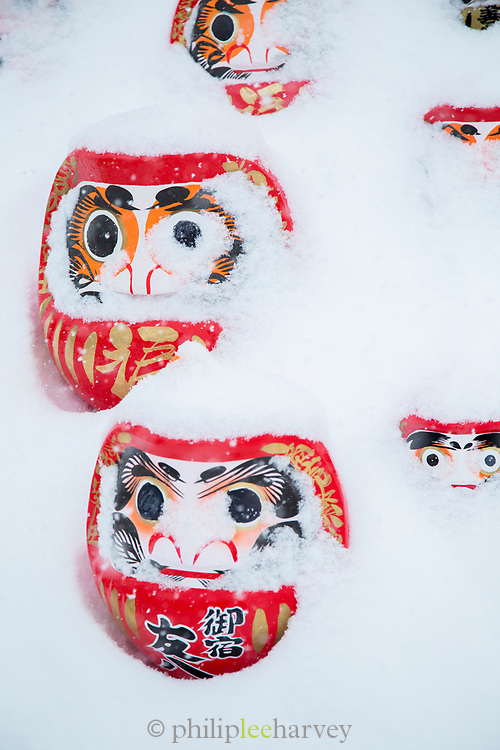 Close-up of masks covered with snow, Nozawaonsen, Japan